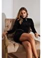 Setre Oranj Balıkçı Yaka Uzun Kol Zincir Kemerli Elbise Siyah
